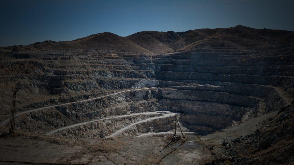 Close-up of Copper Mine Open Pit Excavation